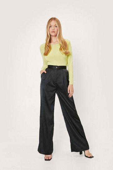 Black Sleek Out Satin Wide-Leg Pants