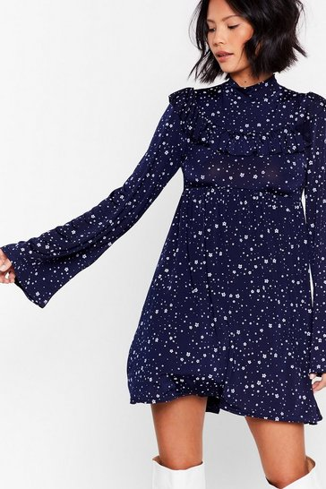 Navy Like a Daisy Ruffle Mini Dress