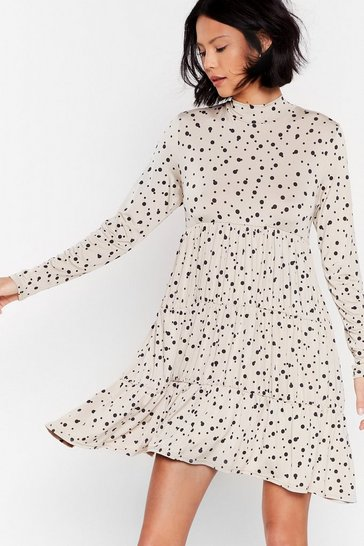 Cream Spot High Neck Smock Mini Dress