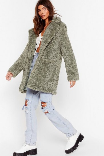 Sage Wait Fur It Faux Fur Longline Coat