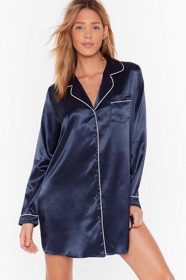 Navy Button Through It All Pajama Nightie
