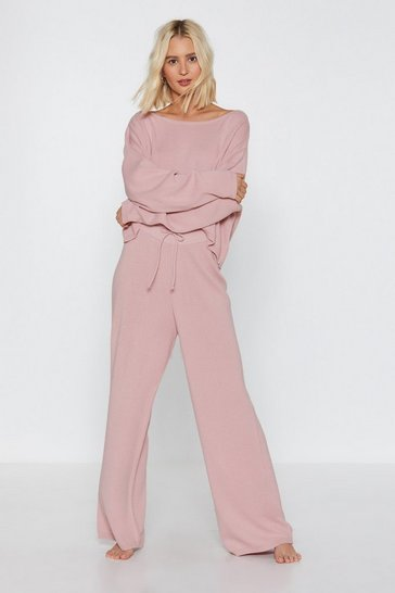 Mink Slow Down Sweater and Wide-Leg Pant Lounge Set