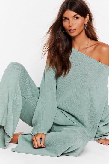 Sage Thats Knit Off The Shoulder Sweater & Pants Set