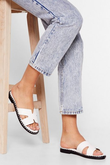 White So Into You Faux Leather Studded Sliders