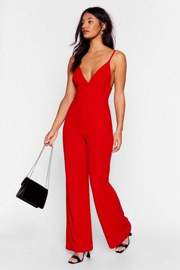 Red Going In Plunging Wide-Leg Jumpsuit