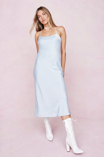 Baby blue Satin Square Neck Midi Slip Dress