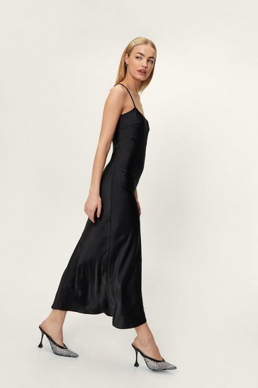 Black Take a Sleek Peak Satin Midi Dress
