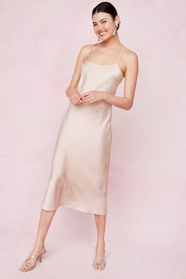 Champagne Satin Square Neck Midi Slip Dress