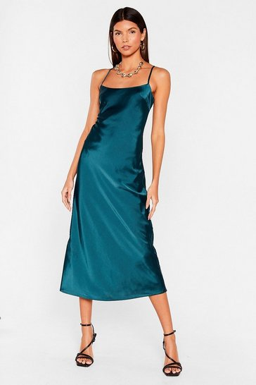 Dark green Satin Square Neck Midi Slip Dress
