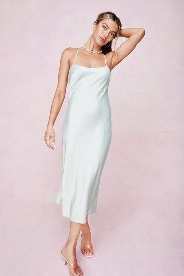 Mint Satin Square Neck Midi Slip Dress