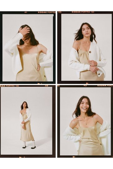 Sand Take a Sleek Peak Satin Midi Dress