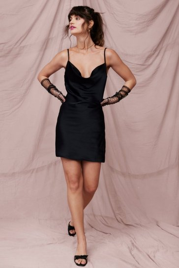 Black Satin Cowl Neck Mini Dress