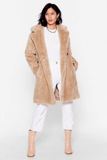 Beige Oh Fur-ry Nice Faux Fur Longline Coat