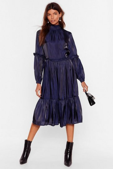 Navy Focus on the Tier and Now High Neck Midi Dress