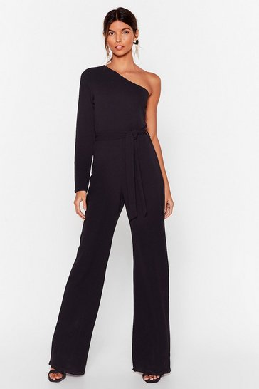 Black My Plus One Shoulder Belted Jumpsuit