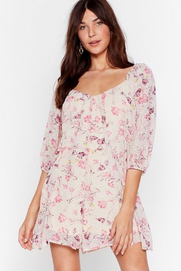 Pink Where'd You Grow Floral Romper