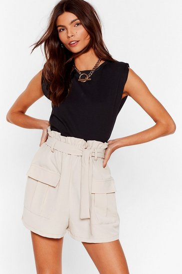 Stone Never Bag Down Paperbag Belted Shorts