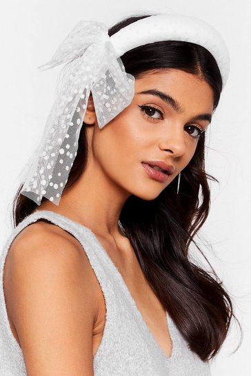 White Get to Bow Me Organza Padded Headband