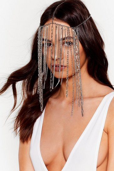 Silver Bridal Chain And Diamante Fringe