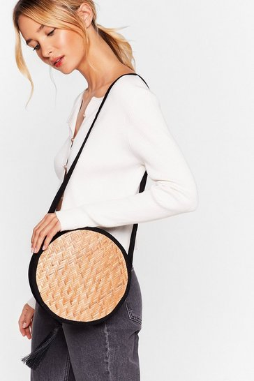 Black WANT Wood You Mind Woven Crossbody Bag
