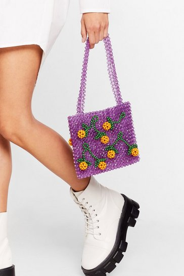 Pink WANT Grow All Night Beaded Tote Bag