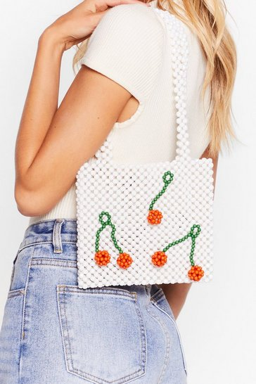 White WANT The Cherry Best Beaded Tote Bag