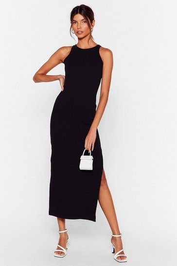 Black Ribbed Racer Back Bodycon Midi Dress
