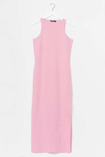 Bubblegum Ribbed Racer Back Bodycon Midi Dress