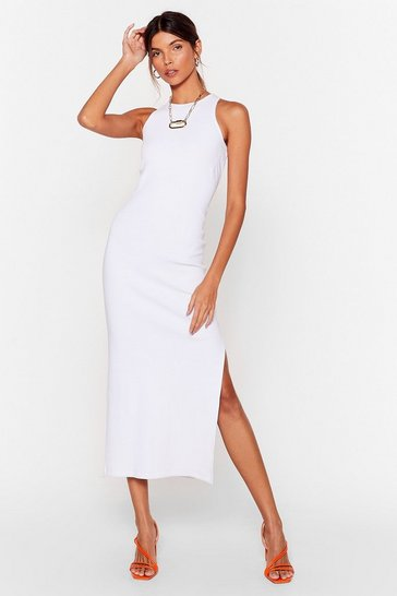White Standards High Ribbed Midi Dress