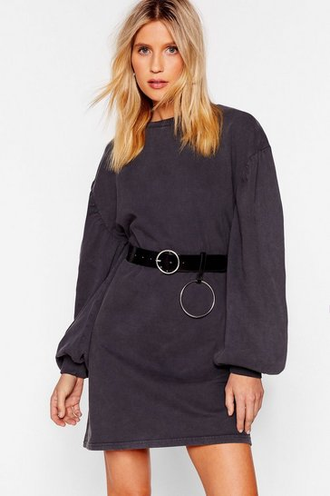 Charcoal Came Here to Chill Mini Sweatshirt Dress