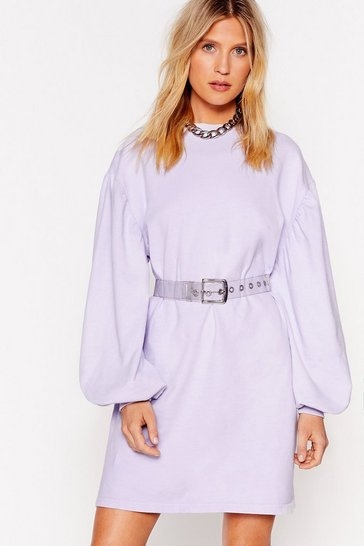 Lilac Came Here to Chill Mini Sweatshirt Dress