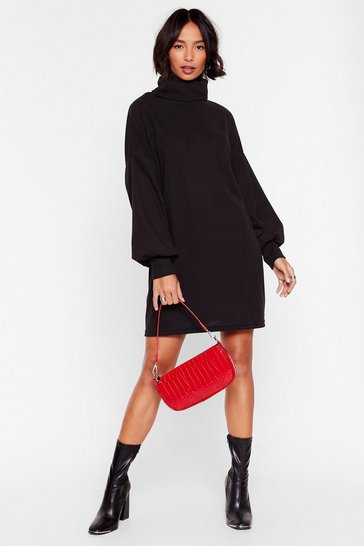 Black What a Softie Turtleneck Knitted Dress