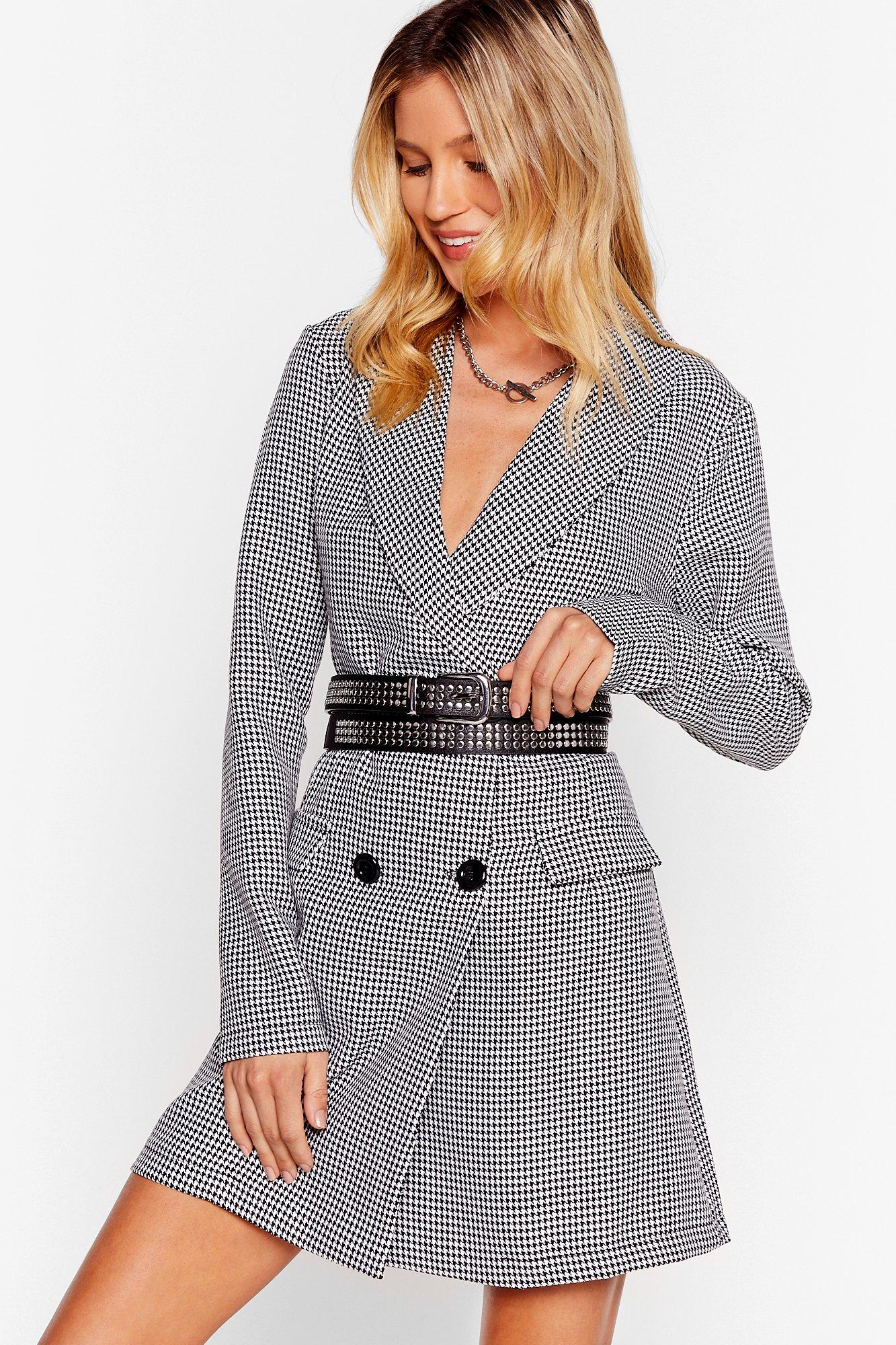 Tell the Houndstooth Mini Blazer Dress   Nasty Gal
