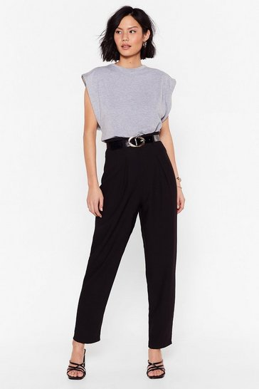Black You Suit Me High-Waisted Tapered Pants