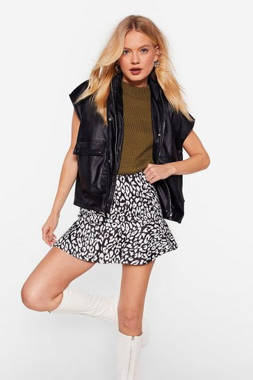 Black Leopard Print Ruffle High Waisted Mini Skirt