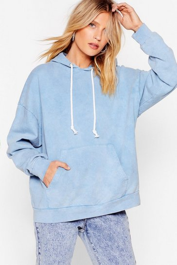 Pale blue Acid Wash Us Work It Relaxed Hoodie