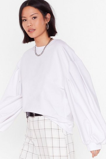 White See You Balloon Sleeve Oversized Sweatshirt