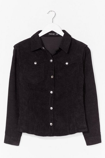 Black Western Button Down Corduroy Shirt