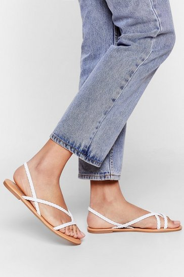 White Woven to Stay Faux Leather Strappy Sandals
