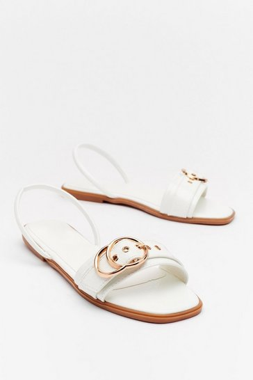 White Buckle Up Faux Leather Flat Sandals