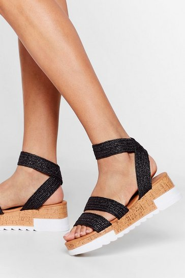 Black 'Til the Sun Come's Up Woven Strappy Sandals