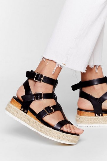 Black That Was Cages Ago Faux Leather Woven Sandals