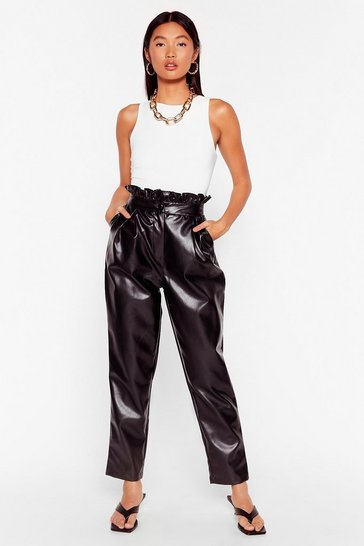 Black Paperbag At It Faux Leather Pants