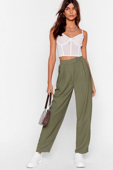 Khaki Pleat Front Volume Peg Trouser