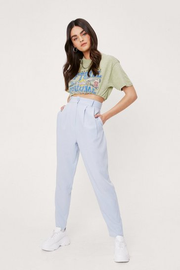 Blue Pleat Don't Go High-Waisted Tapered Pants