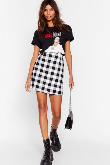 Black Gingham Mayhem High-Waisted Mini Skirt
