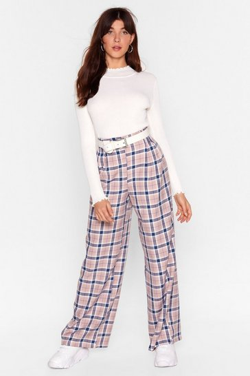 Beige Let's Get the Check High-Waisted Wide-Leg Pants