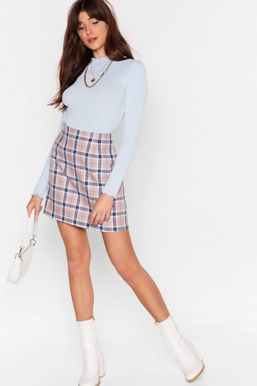 Beige Let's Get the Cheque High-Waisted Mini Skirt
