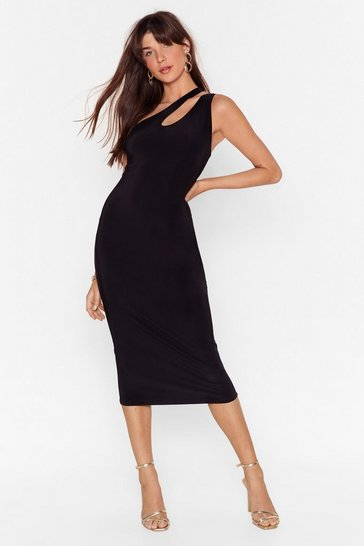 Black Slinky Midi Dress with Open Back