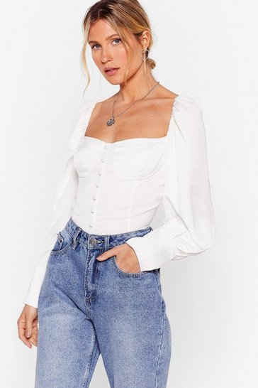 White Don't Tie Your Luck Puff Sleeve Blouse